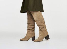 Uterqüe Wide Calf Boots beige leather