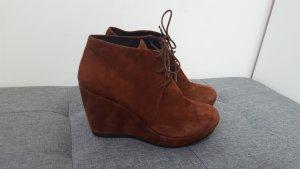 Vagabond Botas de cuña marrón-negro-rojo amarronado