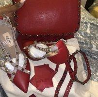 Valentino Leren jurk karmijn-bordeaux