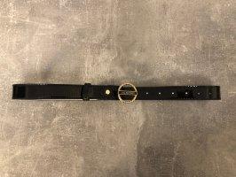 Valentino by Mario Valentino Cinturón de cuero de imitación negro-color oro