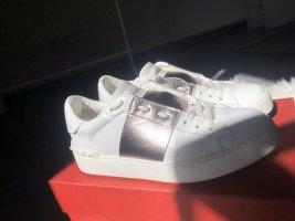 Valentino Open Sneaker Calf Leather Metallic White/ Pastel Grey