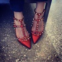 Valentino Baleriny z rzemykami ciemnoczerwony