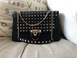 Valentino Crossbody bag black-silver-colored leather