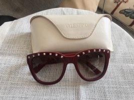 Valentino Oval Sunglasses dark red