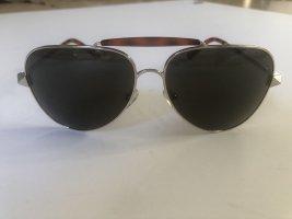 Valentino Okulary pilotki brązowy-srebrny Metal