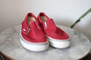 Vans Zapatos de patinador rojo tejido mezclado
