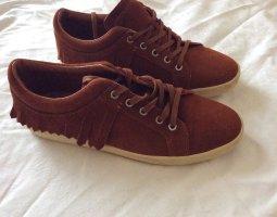 Zara Basic Sznurowane buty brąz