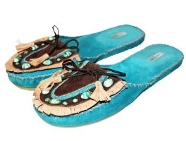 Coralblue Mules turquoise-brown leather