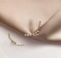 Vergoldete Ohrklemme mit Zirkonia Perlen Ohrkletterer OhrCuff