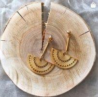 Vergoldete Ohrringe aus Bogotá in Kolumbien mit Steckverschluss präkolumbinische Form Hängeohrringe (reserviert für Eva)