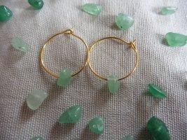 keine Marke Gouden oorbellen goud-lichtgroen