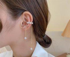 Vergoldete Quasten baumelnd Tropfen Perlen Ohrklemmen earcuff, Einzel (halb paar)