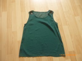 VERO MODA Top/ Tunika mit Pailetten dunkel grün gr M