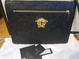 Versace Clutch Pelle Barocco Neu Schwarz Gold Tasche Leder medusa floral
