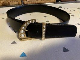 Gianni Versace Cinturón de cuero negro