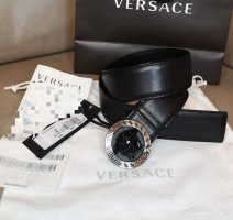 Versace Leather Belt black-silver-colored