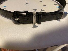Gianni Versace Cinturón de cuero negro-color plata