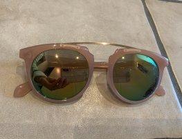 Verspiegelte Sonnenbrille in rosa mit goldenen Steg