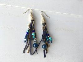 verspielte Ohrringe, blau und gold