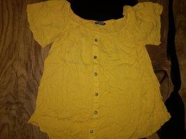 NoName Prążkowana koszulka złotopomarańczowy