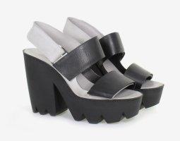 Vic Matie Platform Sandals black-light grey leather