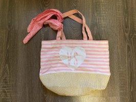 Victoria's secret Beachtasche Korb Tasche pink rosa Weiß streifen