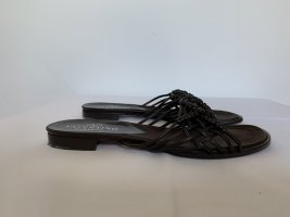 Strapped High-Heeled Sandals dark brown leather