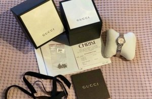 Gucci Fermoir de montre argenté-or rose métal