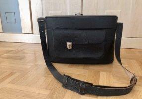 Gekruiste tas zwart bruin-zilver Leer