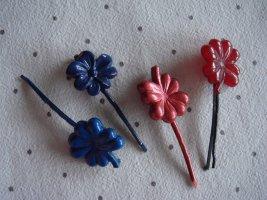 Vintage -  4 x Haarklammer Haarspange Haarschmuck Klammer Spange  Modeschmuck Party Fest Hippie blau  braun Blume 90er