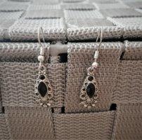 Vintage Wiszące kolczyki srebrny-czarny