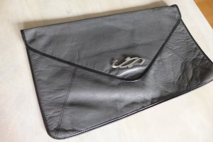 Vintage 80er 80s Handtasche Clutch Kuvert groß grau silber