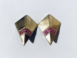 Vintage 80er Jahre Ohrclips Gold mit pinkem Strass