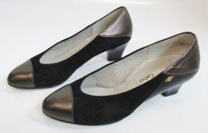 Vintage 80er Jahre Pumps Lady Gabor Größe 37 * 4,5 Twotone Schwarz Metallisch Kappe Trotteur Business Leder Materialmix