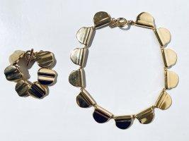 Vintage 80er Jahre Schmuck-Set Kette und Armband - goldfarben