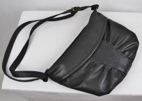 Vintage 80er Leder Handtasche Schwarz Kroko Tasche Henkeltasche Fächer Raffung