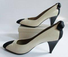 Vintage 80er Leder High Heels Größe 38,5  38 / 39 Twotone Schwarz Nude Beige Weiß Rips Spreckelsen Pumps Schuhe Schleife Pin Up Rockabilly