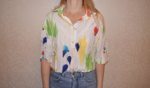 Vintage 80s Shirt Button Up Oversized