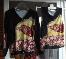 Vintage ... 90er Twin-Set ...  Strickjacke Pullover Top Gr.  40/42 schwarz gelb rot Ornament - ganz weich