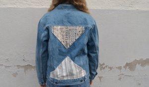 Vintage 90s Jeans jacke mit Muster