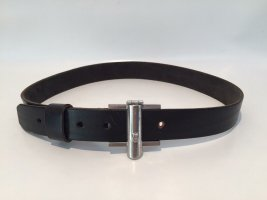 Aigner Leather Belt black-silver-colored leather