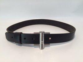 Aigner Cinturón de cuero negro-color plata Cuero