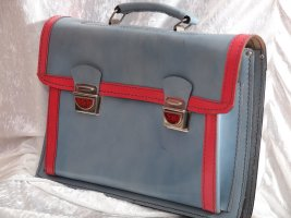 Briefcase azure-pink leather