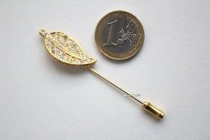 Vintage Anstecknadel Strass Blatt Brosche Nadel