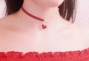 Vintage Asymmetrische Halskette Chocker Herz in Goldene Farbe mit weissen Perlen