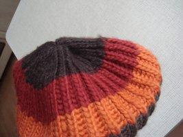 Vintage - Banies Basken Mütze Kappe orange kupfer grau braun