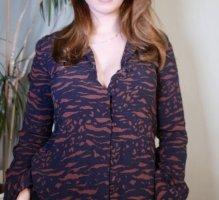 Vintage Bluse mit Tigermuster schwarz braun