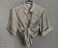 Vintage Bluse Seide Khaki Sternchen