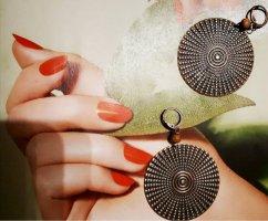 Vintage Boho Ohrringe in alt Goldene - Türkis Farbe mit Holz Perle