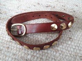 Vintage Cintura di pelle marrone-marrone-rosso